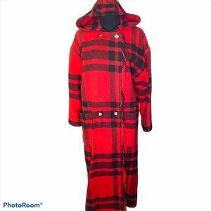 Vintage LL Bean fringe plaid wool coat red size L